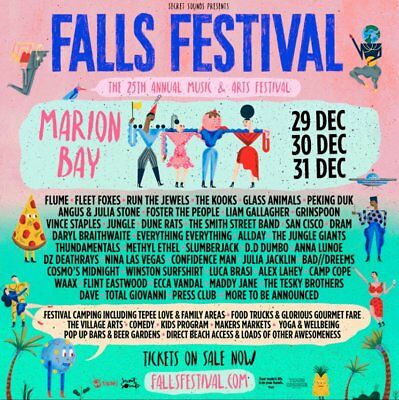 2 x 3 Day Falls Festival Tickets Marion Bay