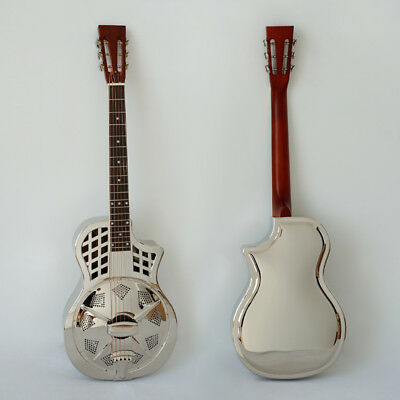 Cutway Shape Parlour Resonator Guitar Brass Body Single Cone blues Slide guitar