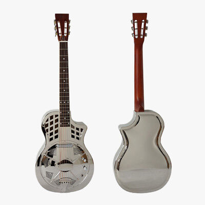 Cutway Shape Parlour Resonator Guitar Brass Body Single Cone Electrical Guitar