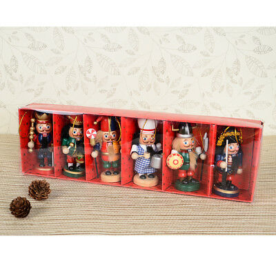 10cm/4'' Wooden Nutcracker 6pcs/Set Vintage Hand Painted Table Walnut Gifts