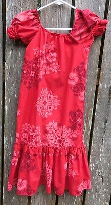 One Papaya Made In Hawaii Moo Moo Sundress Size 5, Red, Brown, Pink