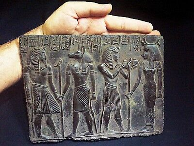 ANCIENT EGYPTIAN ANTIQUE Bearing Gifts for Isis Plaque Stela Relief 1213-1279 BC