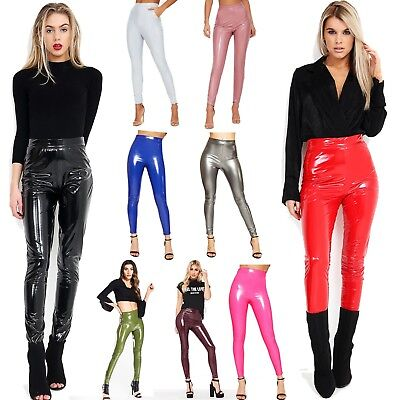 Women Ladies Shiny Vinyl Leggings PVC Wet Look Shiny Disco Pant New Size 6-12