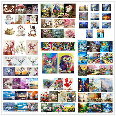 AU Decor DIY Paint By Numbers Kit Oil Painting Canvas Home Decor 106 Types Gift