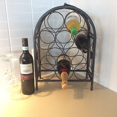 Iron Wine Rack I 10 Wine Bottle Holder I Black Wrought Iron I 45.5 x 33 cms
