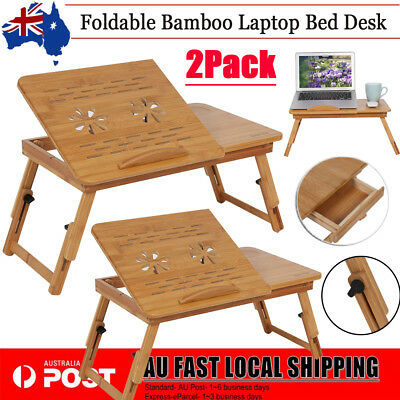 2Pc Laptop PC Desk Foldable Table Table Bed Stand Mouse Holder Tray Adjustable