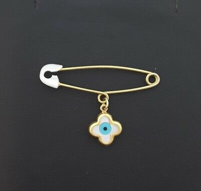Miran 160518 9K Yellow Gold Baby Safety Pin w/ Evil Eye in Clover Charm RRP$170