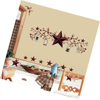 RoomMates RMK1276SCS Country Stars and Berries Peel & Stick Wall Decals, 40 Coun