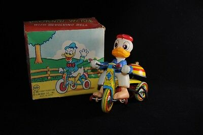 Vintage Disney Line Mar Celluloid Donald Duck Tricycle Windup Toy w/ Org Box