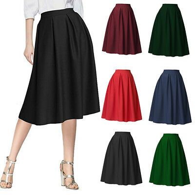 a616311165 Women High Waist Pleated Flared Skirt Swing Midi Satin Dress With Two  Pockets