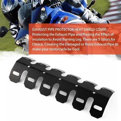 Aluminum Motorcycle Exhaust Muffler Pipe Protector Heat Shield Cover Black %