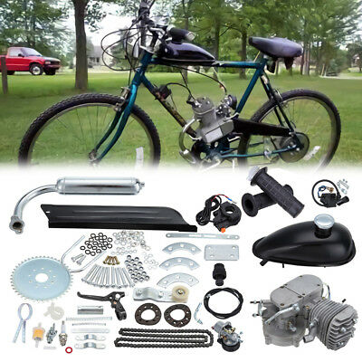 Silver 80cc Motorised Bicycle Push Bike 2 Stroke DIY Motor Engine Kit Petrol