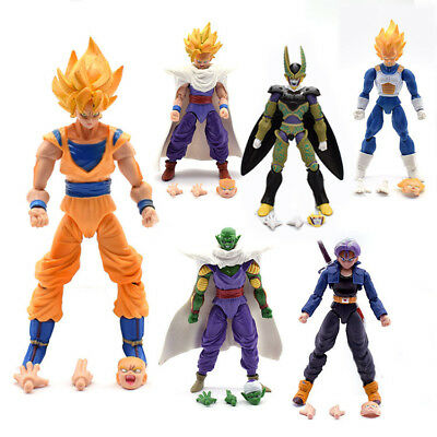"6"" 6Pcs Dragon Ball Z Action Figures Piccolo Cell Trunks Super Saiyan Goku Gohan"