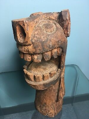 Hand Carved  Wooden Statue Head  - Tribal - Collectible - Antique - Thing !