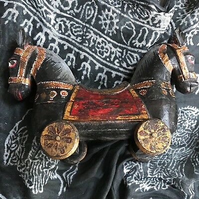 Vintage Indian Wooden Toy. Highly Decorative, Tikka Box, Double-Headed Horse.