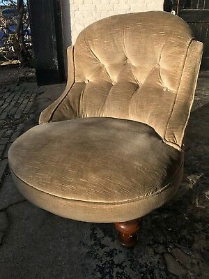 Victorian accent small green velvet button back occasional chair