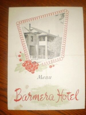 Vintage 1947 Barmera Hotel SA photographic pub menu card