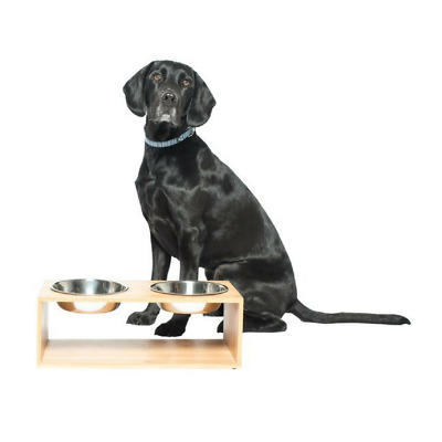 Bamboo & Stainless Steel Feeding Station
