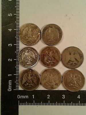 Lot Of 8 - 5 Cent Silver Coins Mexico *