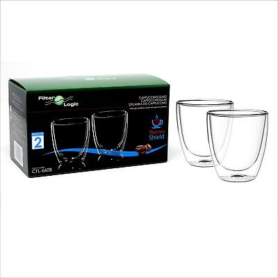 FilterLogic CAPPUCCINO Thermoshield Double Wall Coffee Glass Glasses(Twin Pack)
