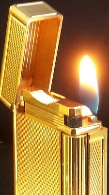 ST DuPont Lighter Line 1 Large Gold Working  Year Warranty Good  Condition #D96