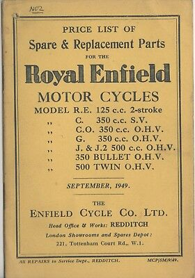 Royal Enfield Bullet,Twin,R.E ,C,J.2 Price list Spare & Replacement Book 1949