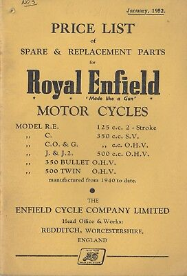 Royal Enfield Bullet,Twin,R.E ,C,J.2 Price list Spare &Replacement Book Jan 1952