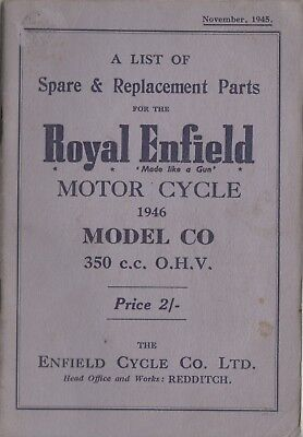 Royal Enfield 350cc OHV Spare 1946 & Replacement Book Nov 1945