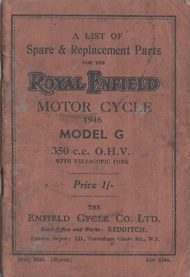 Royal Enfield Model G 350cc OHV Spare & Replacement Book  June 1946