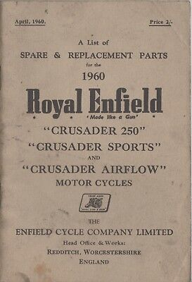 Royal Enfield Crusader 250,Sports,Airflow Spare & Replacement Parts book 1960
