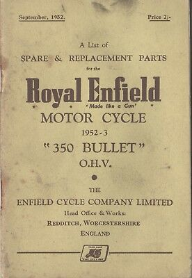 Royal Enfield 350 Bullet Spare & Replacement Book  Sep 1952