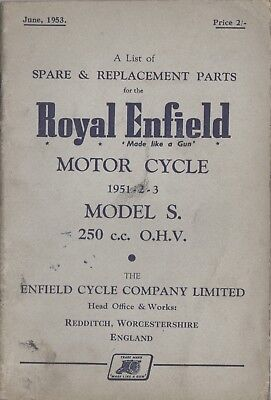 Royal Enfield S 250cc OHV Spare & Replacement Book June 1953