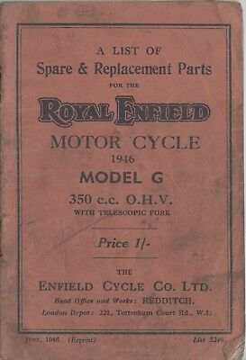 Royal Enfield G 350cc Spare & Replacement Book June 1946