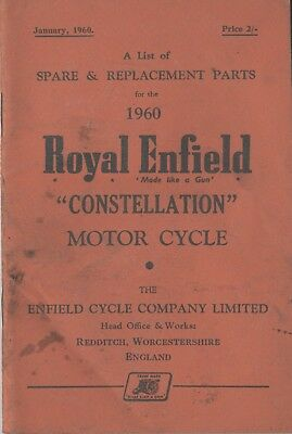 Royal Enfield Constellation Spare & Replacement Book Jan 1960