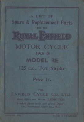 Royal Enfield  RE 125cc & Replacement Book Sept 1948