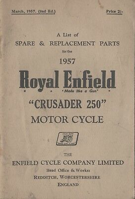 Royal Enfield Crusader 250 Spare & Replacement Book March 1957