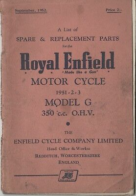Royal Enfield G 350cc Spare & Replacement Book Sept 1952