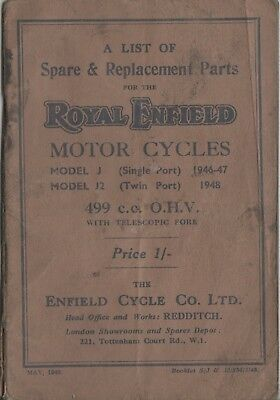 Royal Enfield J.J2  499cc & Replacement Book May 1948