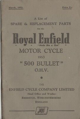 Royal Enfield 500 Bullet Spare & Replacement Book March 1953