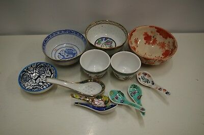 6 Various Asian Chinese Oriental Rice Bowls 6 Ceramic Decorative Spoons