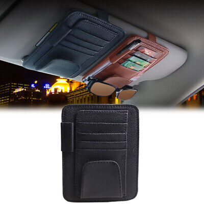 Car Auto Sun Visor Multi-Pocket Card Sunglasses Pen Holder Organizer Bag Black