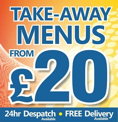 takeaway Menus printed on 130gsm gloss 24hrs to despatch from £20