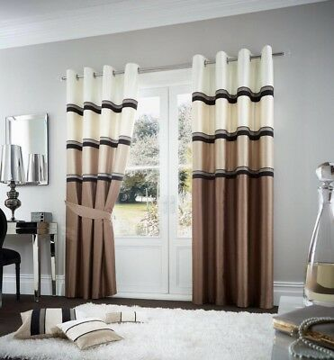 Jacquard Blackout Woven Style Ring Top Curtain Pair With Back Tie – Cream/Brown