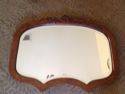 Antique Carved Solid Quartered Oak Wall Mirror