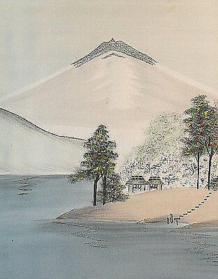 Mt. Fuji -- Vintage Embroidery on Silk, Ready-to-frame! -- 8 x 10 inch picture