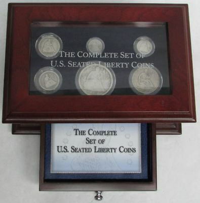 COMPLETE SET OF SILVER USA SEATED LIBERTY COINs $ 50c 25c 20c 10c 5c