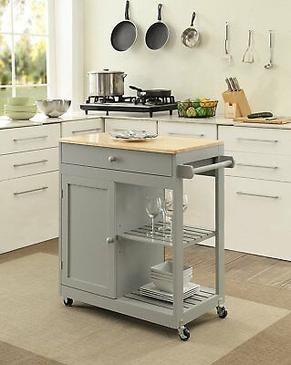 Butcher Block Kitchen Island Wheels Mobile Dining Room Storage Cabinet  Shelves