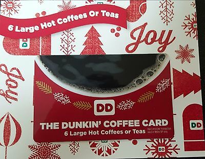 Dunkin Donuts 24 Large Hot Coffees Coffee Gift Card No expiration TAX FREE
