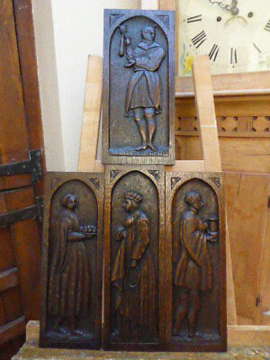 4 Carved Oak Plaques The King Jester And Two Serfs  1780  Free Shipping England