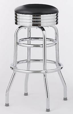 1950's CLASSIC DINER BLACK VINYL BAR STOOL HEAVY DUTY COMMERCIAL ( 4 PER CASE )